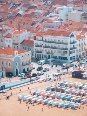 Nazare beach and city center buildings as seen from Miradouro do Suberco