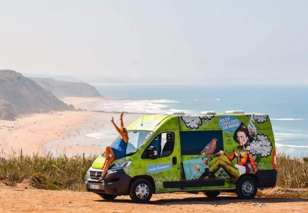 Our Indie Campers campervan in Praia da Areia Branca - Lourinha