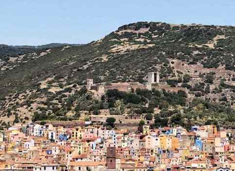 Bosa as seen from afar - Road tripping Sardinia in 10 days