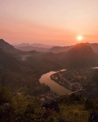 Sunset from a viewpoint overlooking Nong Khiaw, Laos