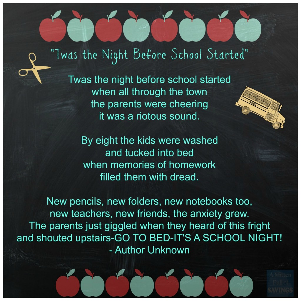 Twas The Night Before School Started Poem