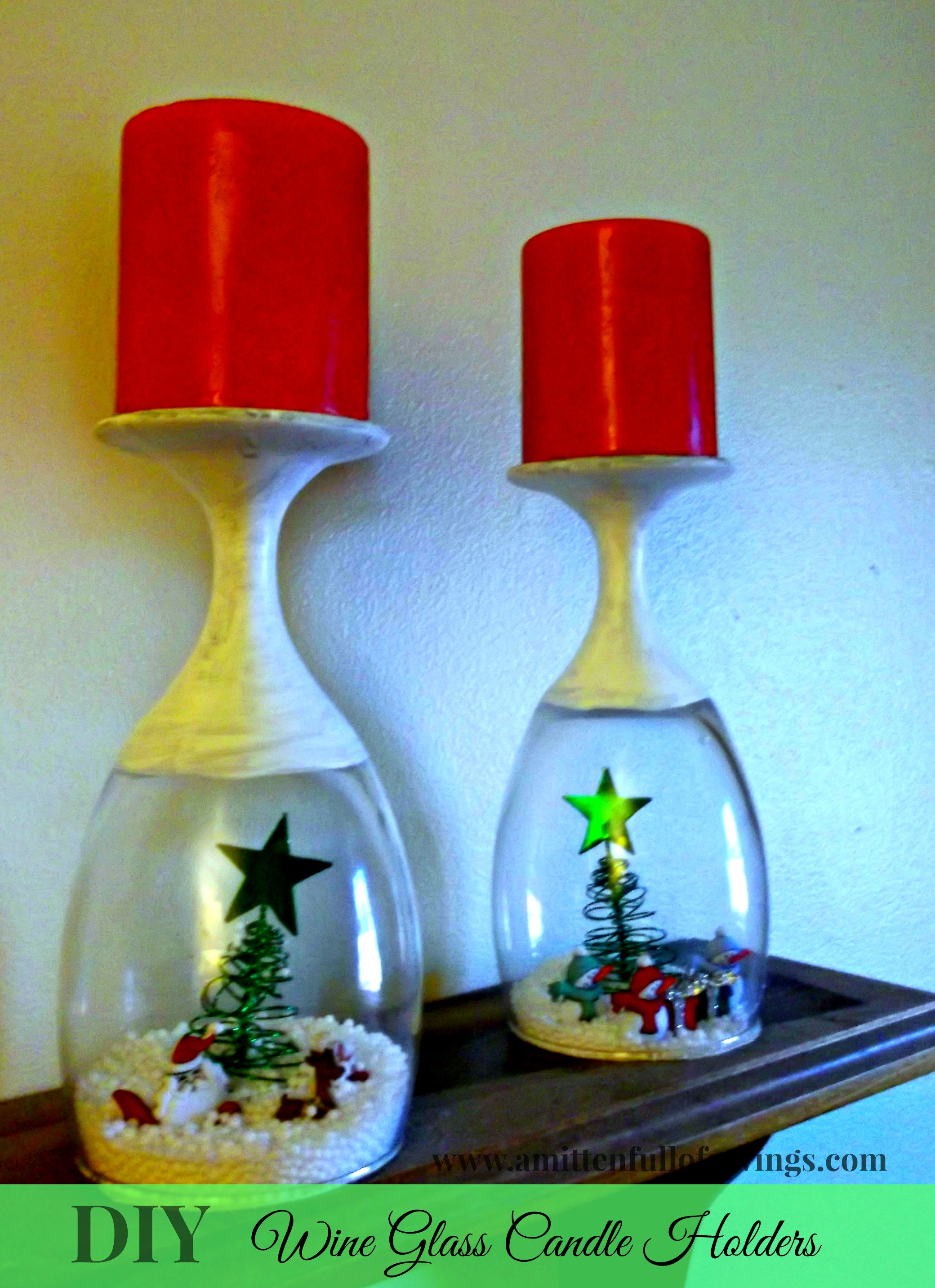 DIY Christmas Wine Glass Candle Holder - This Worthey Life
