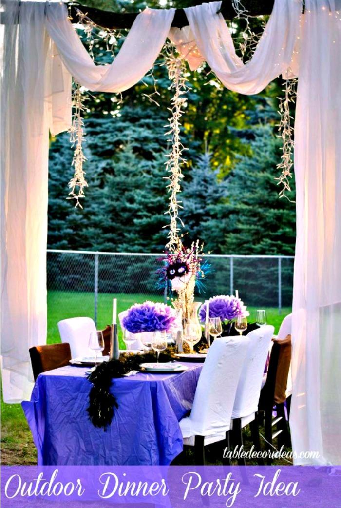 Elegant Outside Table Decor Idea- Dinner Party on Backyard Table Decor id=89065