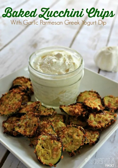 Healthy Eating: Zucchini Chips with Parmesan Garlic Greek Yogurt Dip
