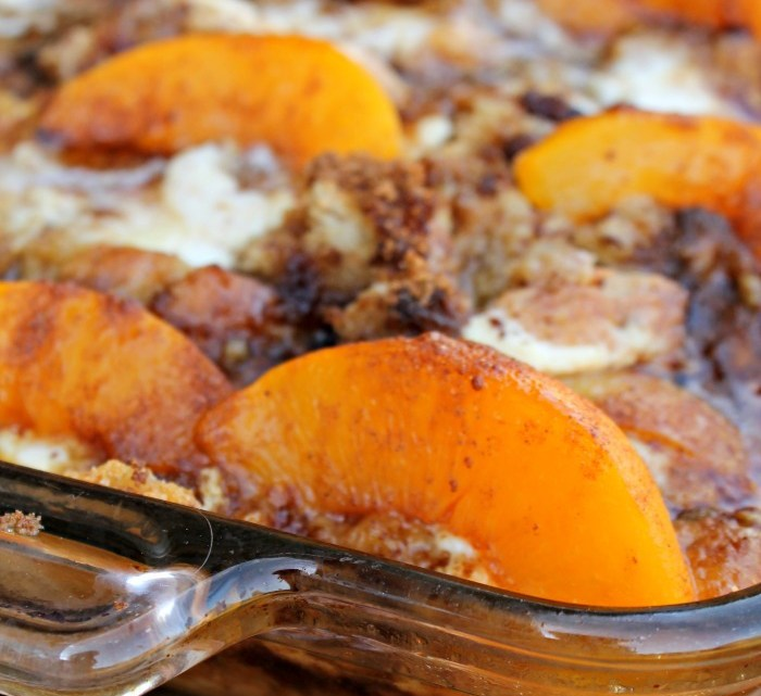 Easy Overnight Peaches And Cream Cheese French Toast