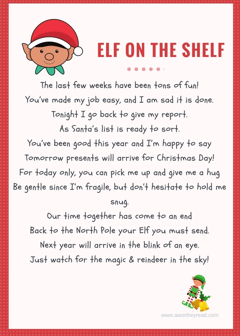 Printable Elf On The Shelf Goodbye Letter  This Worthey Life
