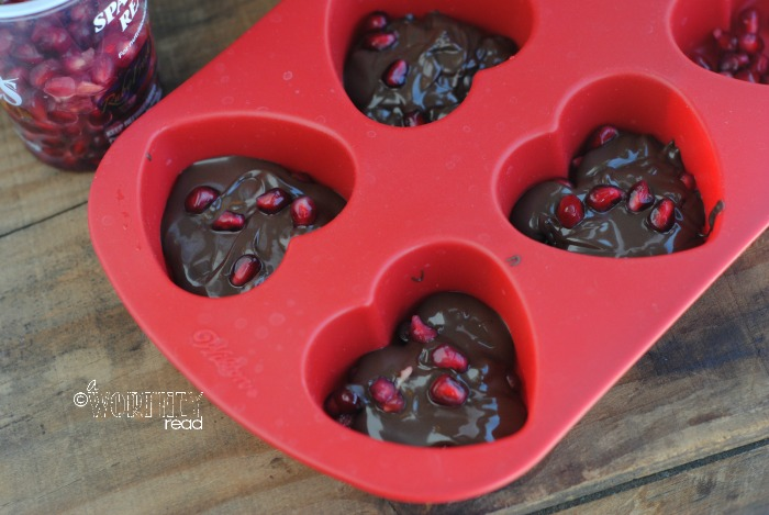 Recipe for Dark Chocolate Pomegranate Hearts filled