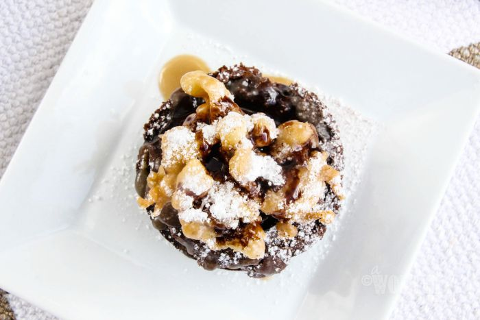 Cupcake Brownie with Funnel Cake & Caramel