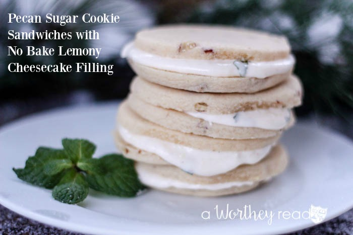 Easy Christmas Cookie recipe- Pecan Sugar Cookie Sandwiches with No Bake Lemony Cheesecake Filling