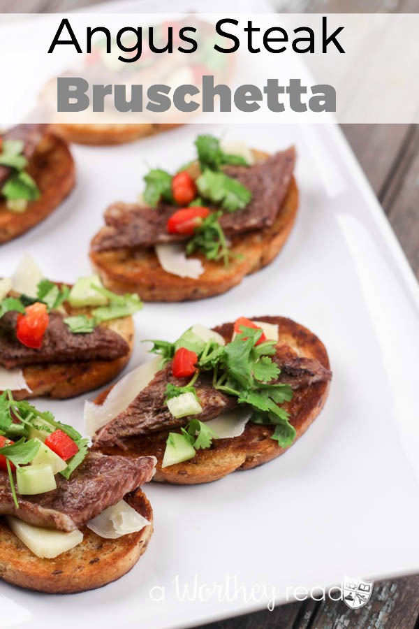 Easy appetizer idea for game day or a dinner party- Angus Steak Bruschetta Appetizers