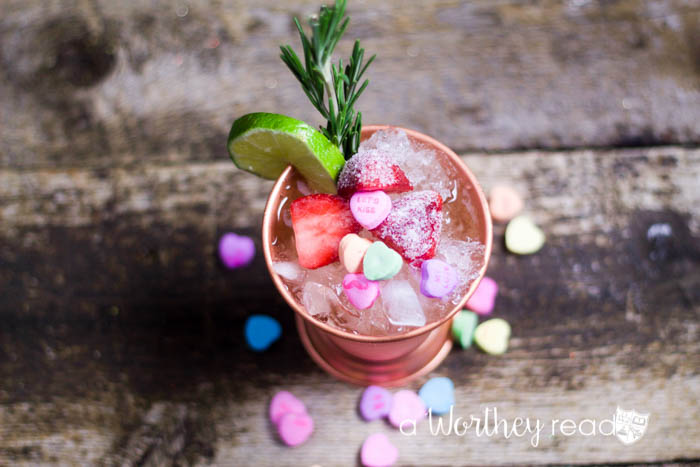 valentine's day candy, vodka, ginger beer, lime juice, and crushed ice.