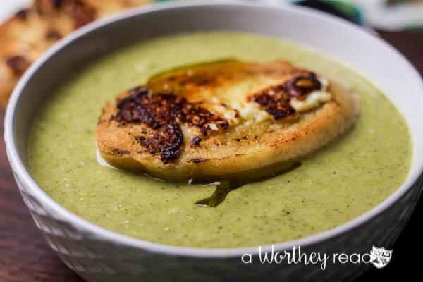 Broccoli Cheddar Soup with Cheddar Crostini