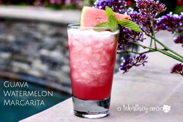 Summer Cocktail by the pool idea. Put your margarita game in high gear with this Guava Watermelon Margarita