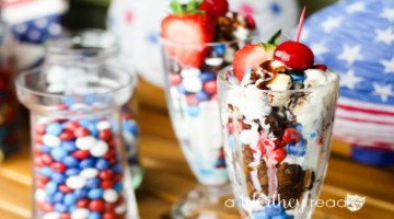 Easy summer dessert involving chocolate, candy, brownies and your favorite ice-cream! Great for a 4th of July Treat! Red, White and Blue Ice Cream & Brownie Parfaits