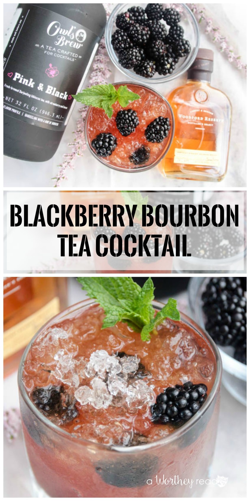 Fleshed out with a bit of homemade blackberry simple syrup, whole blackberries and crushed ice and we got ourselves a serious contender for the best cocktail of the summer.- Blackberry Bourbon Tea Cocktail