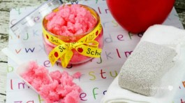 Easy DIY Sugar Scrub. This is a great gift idea for Teachers , friends and family. Click through how to make red apple sugar scrub