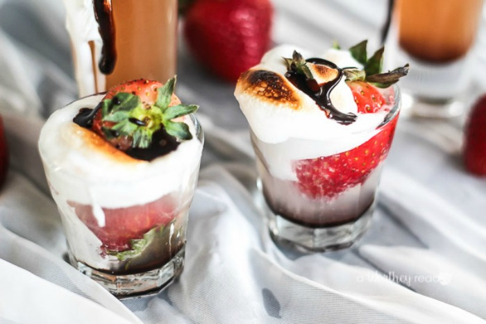 Toasted Strawberry Shots Cocktail with Vodka