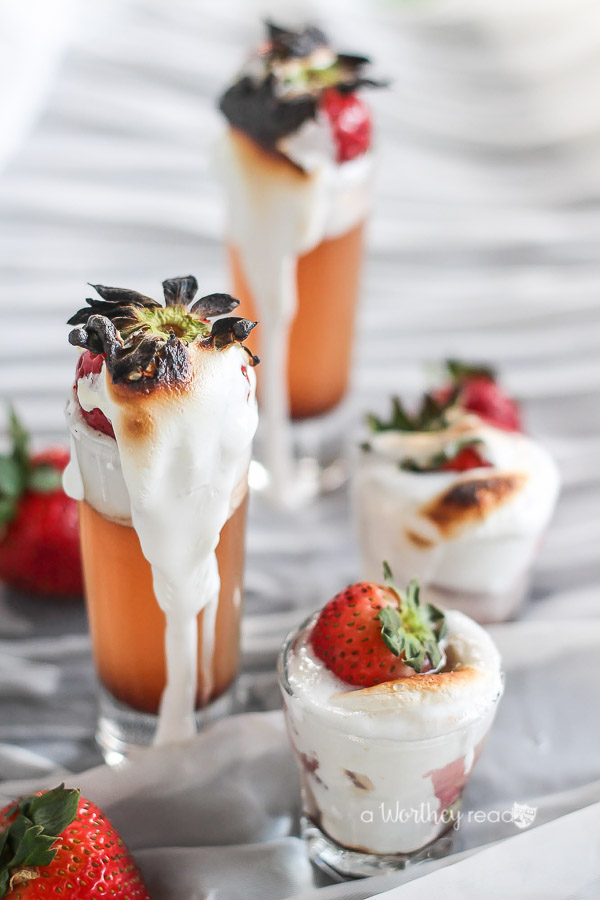 Toasted Strawberry Vodka Shots with Marshmallow