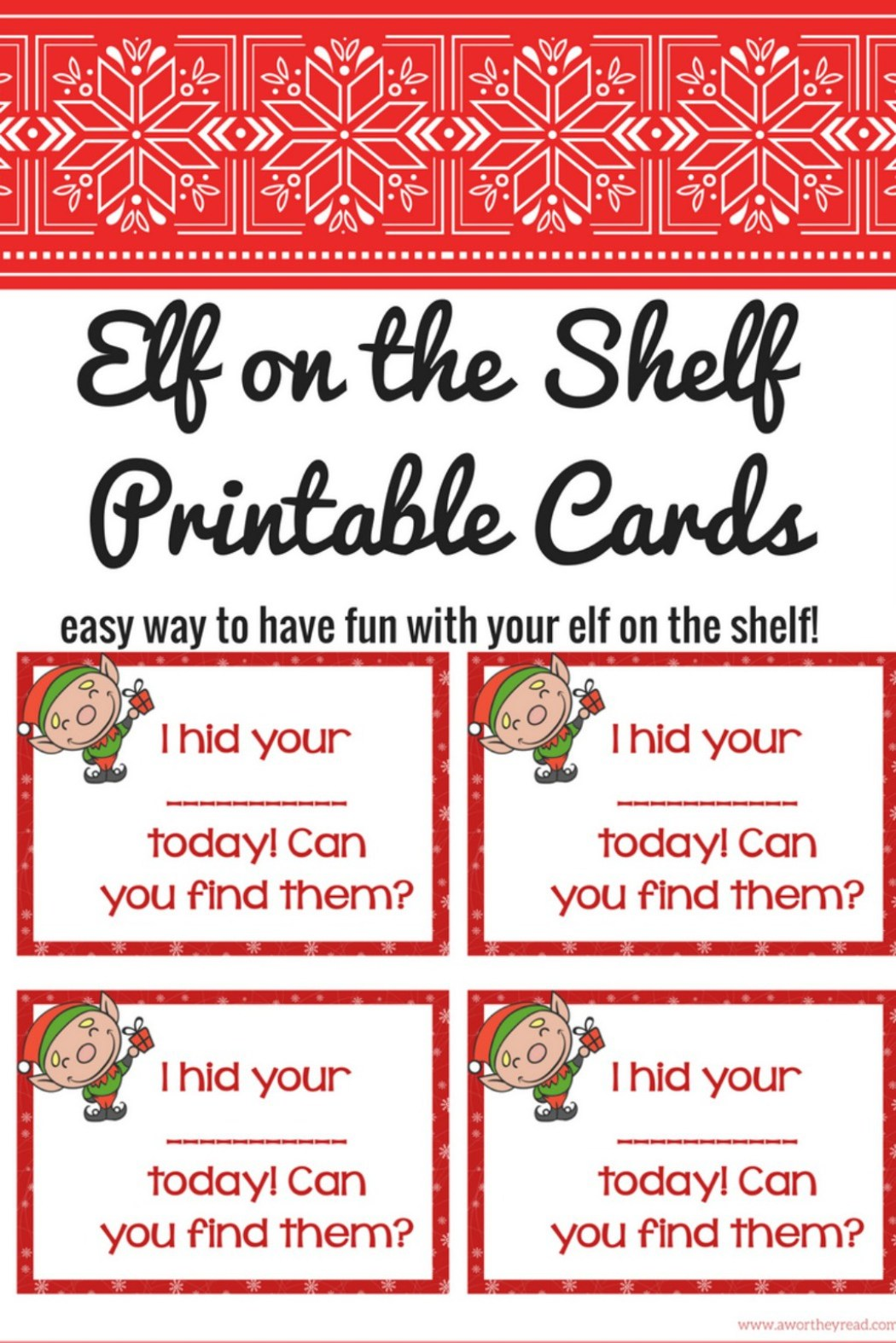 It is a picture of Clever Printable Elf on the Shelf
