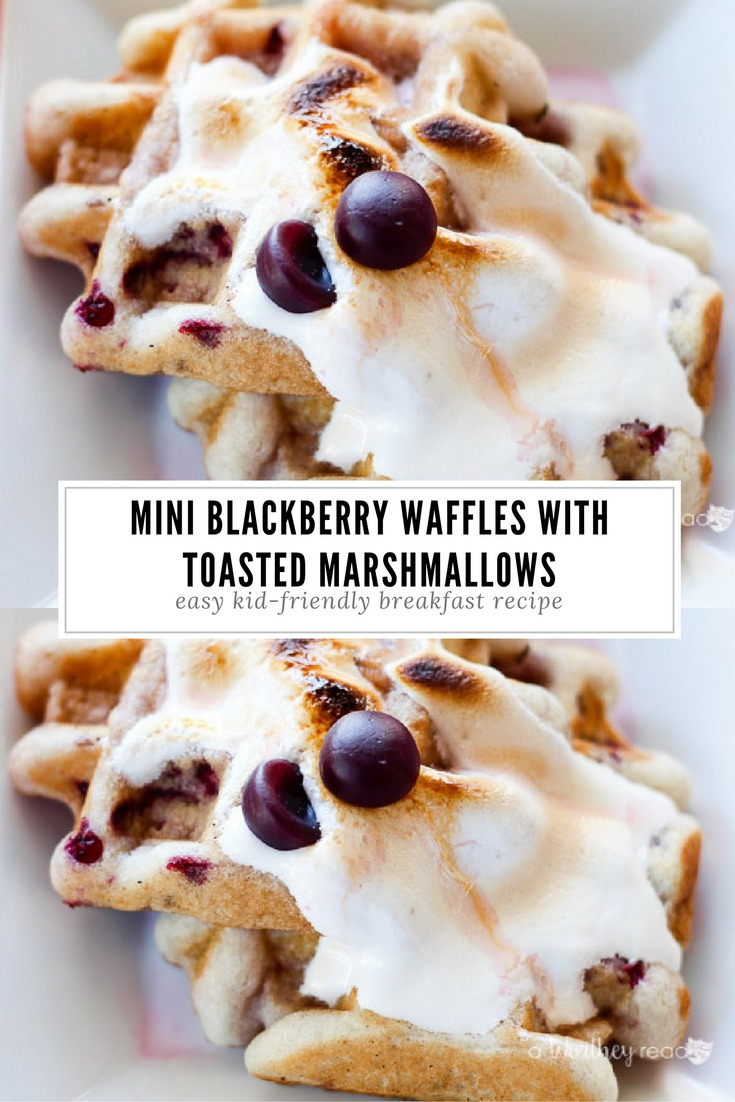 Breakfast is the most important meal of the day. Here's a quick kid-friendly breakfast idea to try: Mini Blackberry Waffles with Toasted Marshmallows
