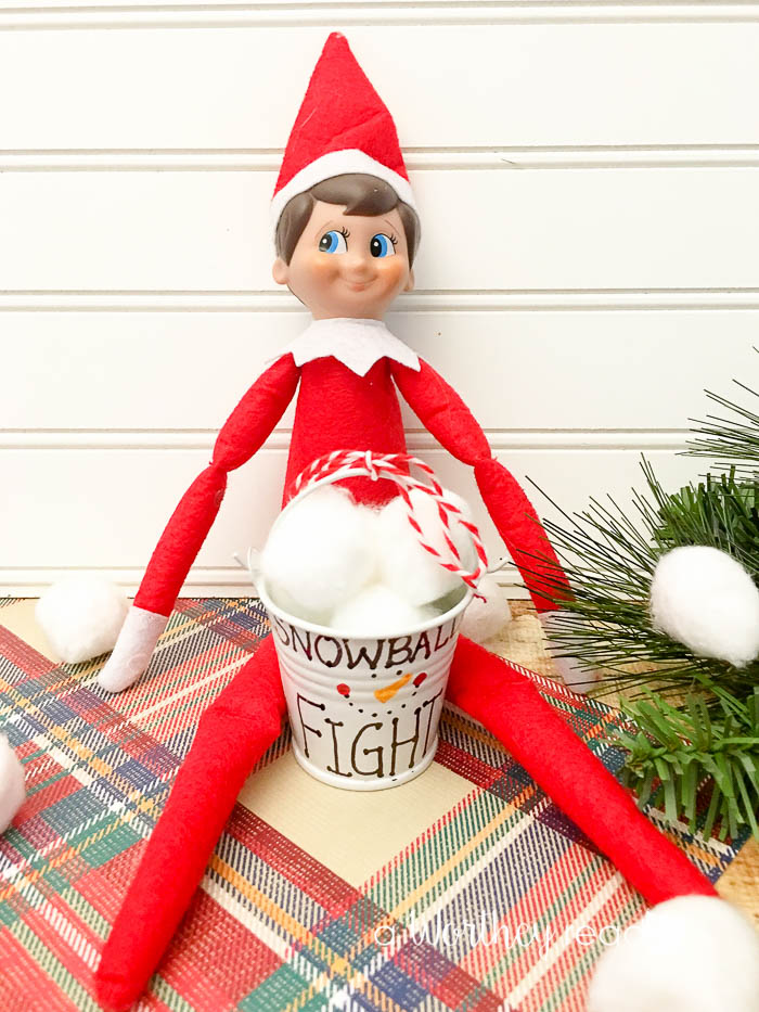 Elf On The Shelf Ideas: Check out our fun Snowball Fight Elf On the Shelf idea that is perfect for a budget friendly Elf idea your kids will love!