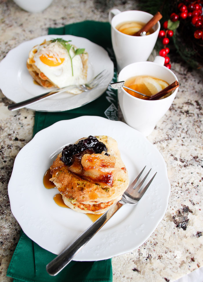 Easy Buttermilk Pancakes with Pistachios & Blueberry Capote