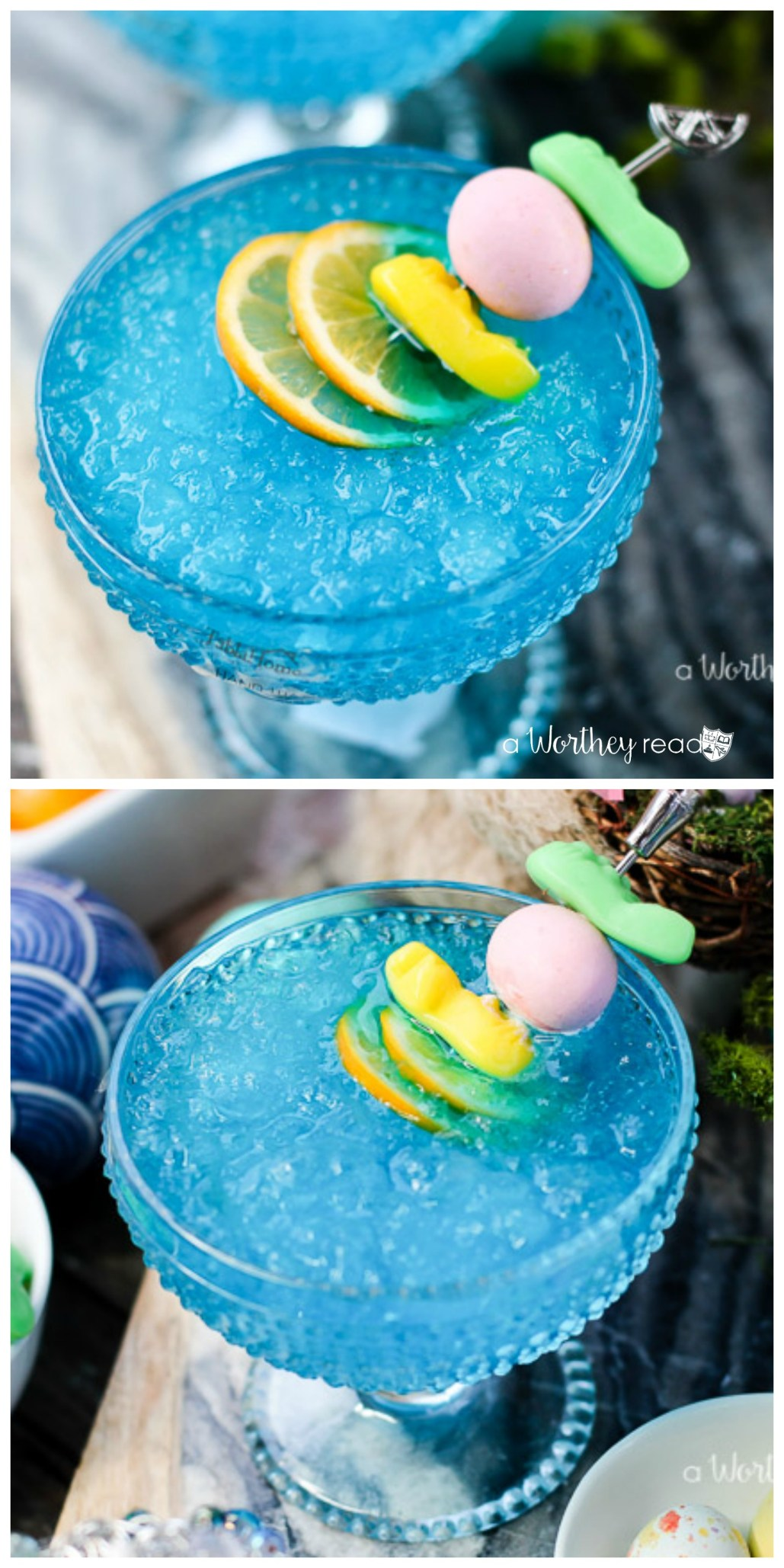 It's Easter time! Our deliciously blue Easter Italian Ice Cocktail is what you will want on your Easter table. It's an Italian ice is shaved ice with a bit of fruit flavored syrup, plus Grey Goose Vodka and Miraval Côtes de Provence. Find the recipe on the blog!