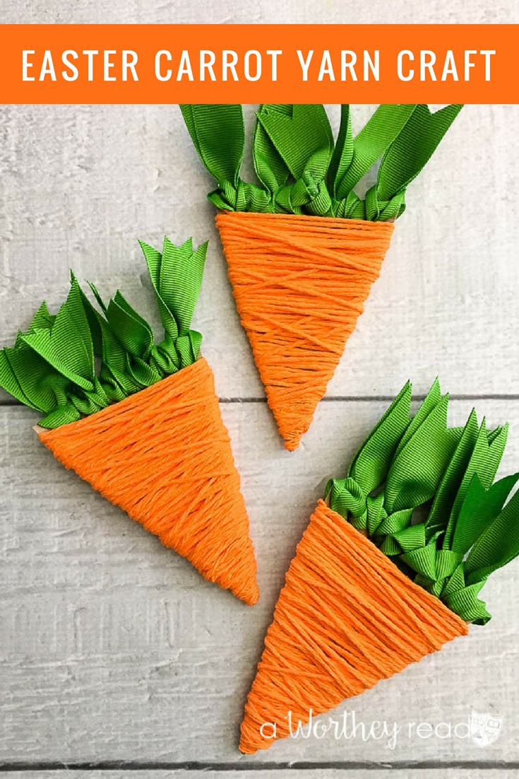 Have fun getting ready for Easter with this easy Easter craft. Grab your orange yarn and a few other supplies and make your own Easter Carrot Yarn Craft!