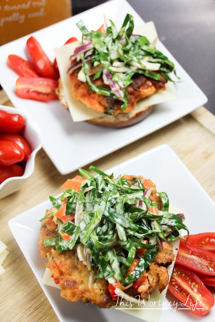 Savory Salmon Cakes with Collard Green Slaw