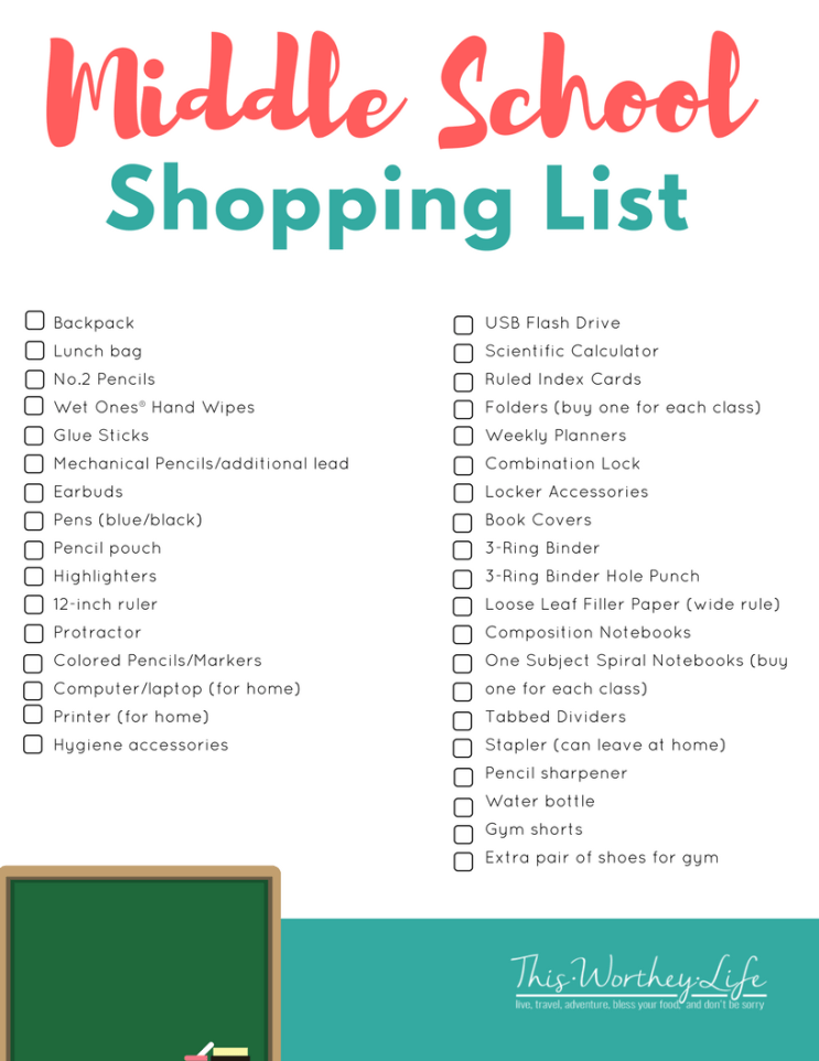 Back To School Shopping List for Middle School Students. Download our FREE printable on what teens will need for school!