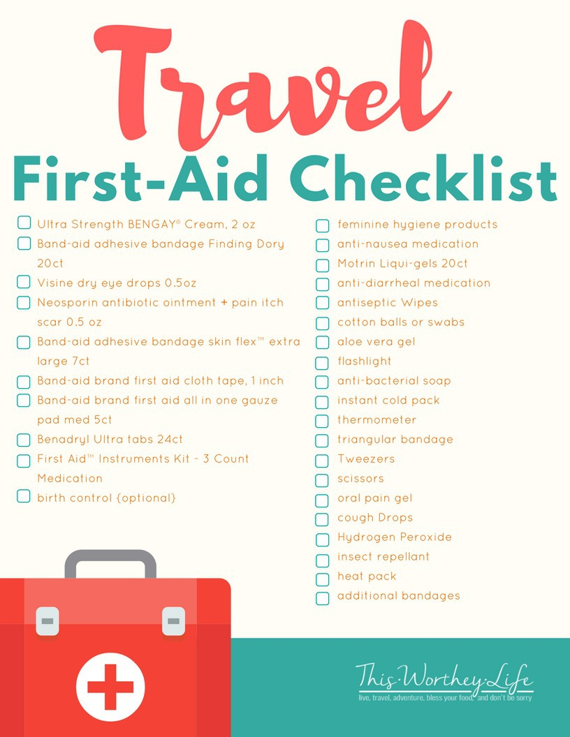 DIY Travel First-Aid printable Checklist