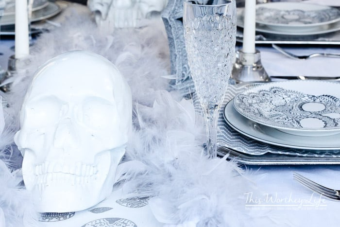 Grey and White Halloween Decor