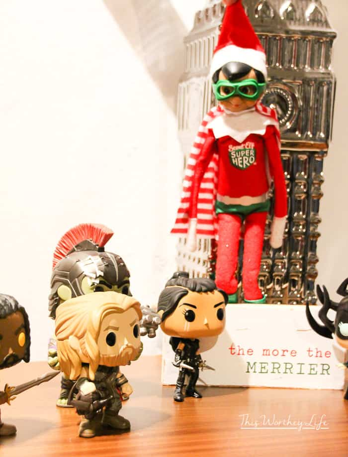 Simple Elf on the Shelf Ideas- elf the Superhero and thor