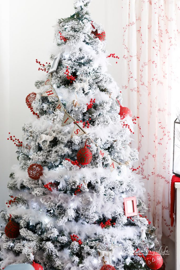 red + white vintage flocked christmas tree