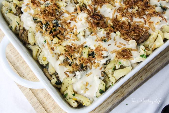 Campanelle Pasta + Sausage, Chicken & Spinach