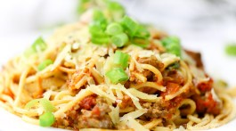 Easy dinner and budget-friendly pasta dinner idea: Easy Baked Spaghetti Casserole