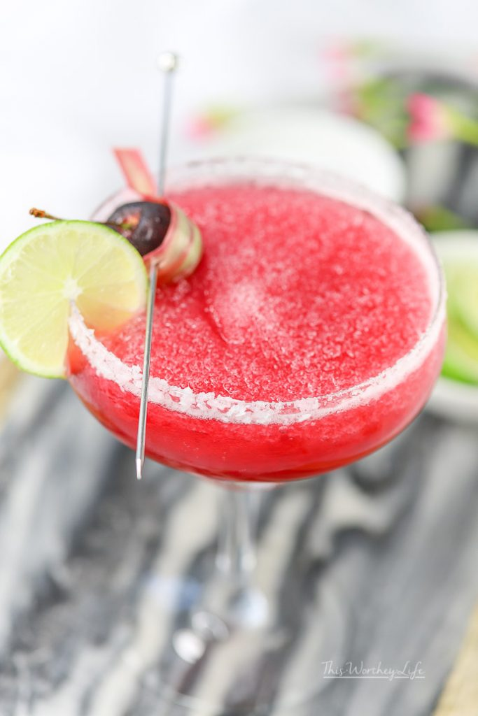 Made withwonderful simple syrup of Michigan cherries, rhubarb, and tequila, this margarita is here to get the party started. With fresh rhubarb and cherries plentiful, this summer serve our cherry + rhubarb margarita!