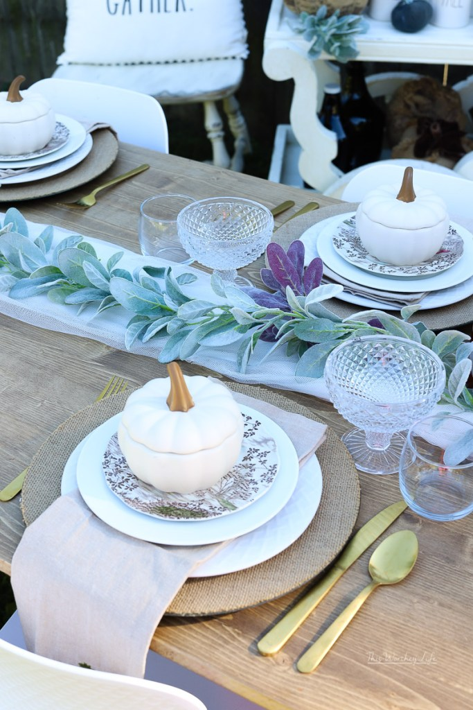 Centerpiece ideas using frosted sage greenery