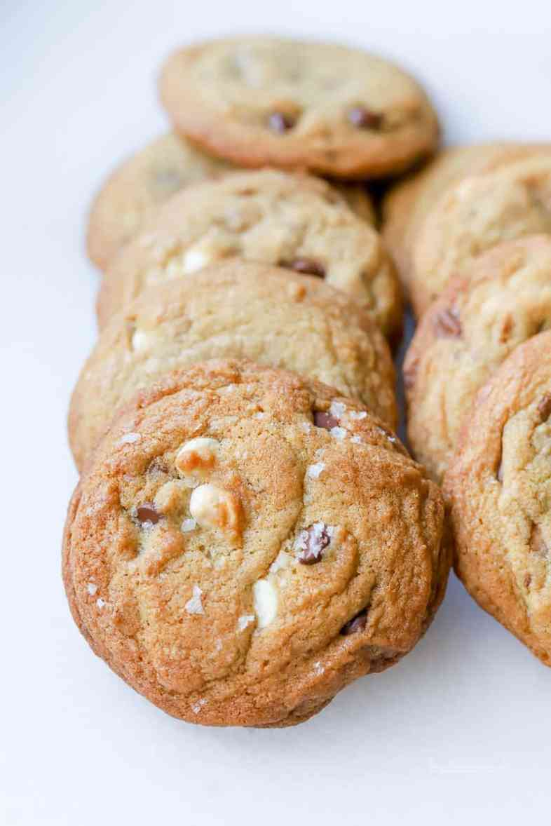 brown butter white & chocolate chip + toffee cookies