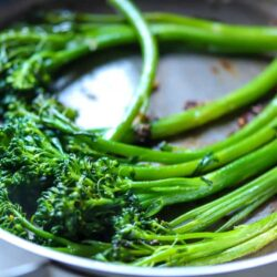 I'm sharing a simple way to make Pan Cooked Garlic Broccolini, which is a great side dish for any type of dinner, plus they are healthy and delicious!