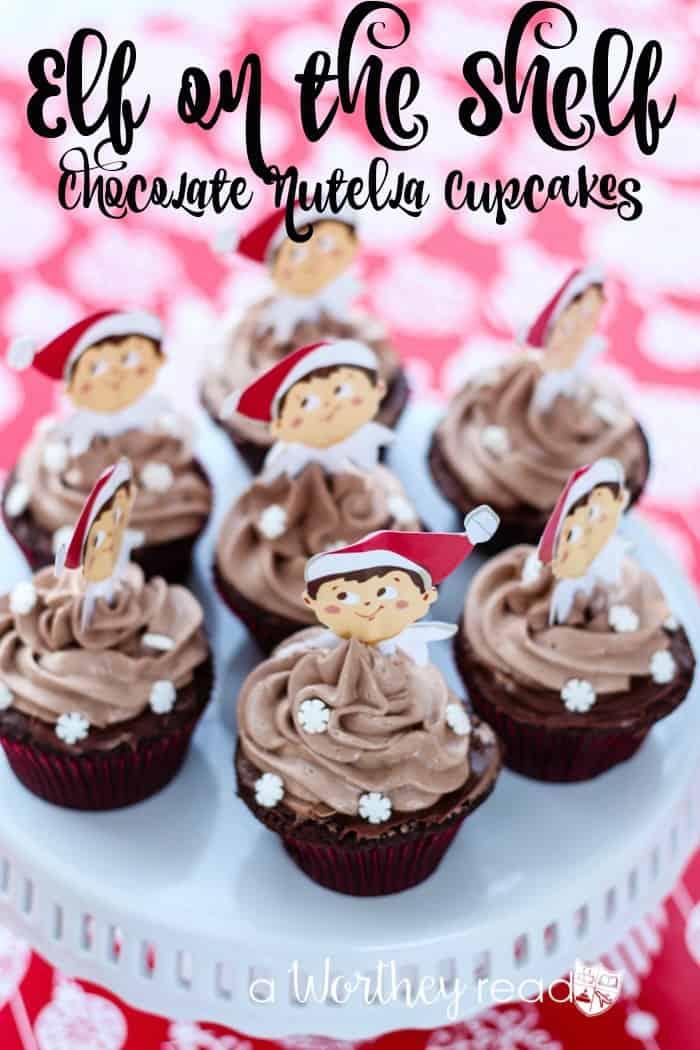 Elf on the Shelf Chocolate Nutella Cupcakes