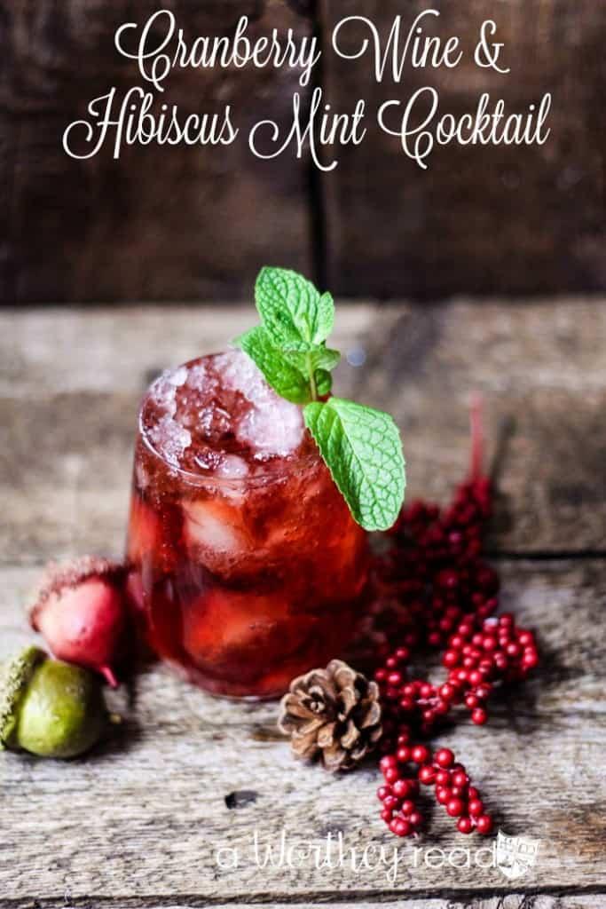 Cranberry Wine & Hibiscus Mint Cocktail