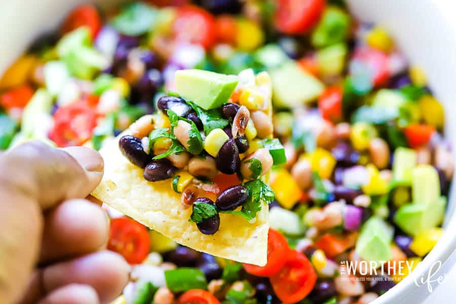 Want an easy as pie to make a dip with eye-poppin' every color of the rainbow flavor? Try our delicious Garden Fresh Cowboy Caviar, it'll have you rethinking your dip game and questioning your life choices! It's great as an appetizer, game day treat, or just to eat for a fresh dose of yummy goodness!