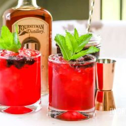 Summertime is mulberry season, and if you love these little plump berries then you will love our incredibly addictive Mulberry Bourbon Smash Cocktail. It's made with our Spiced Mulberry Simple Syrup. Cheers!