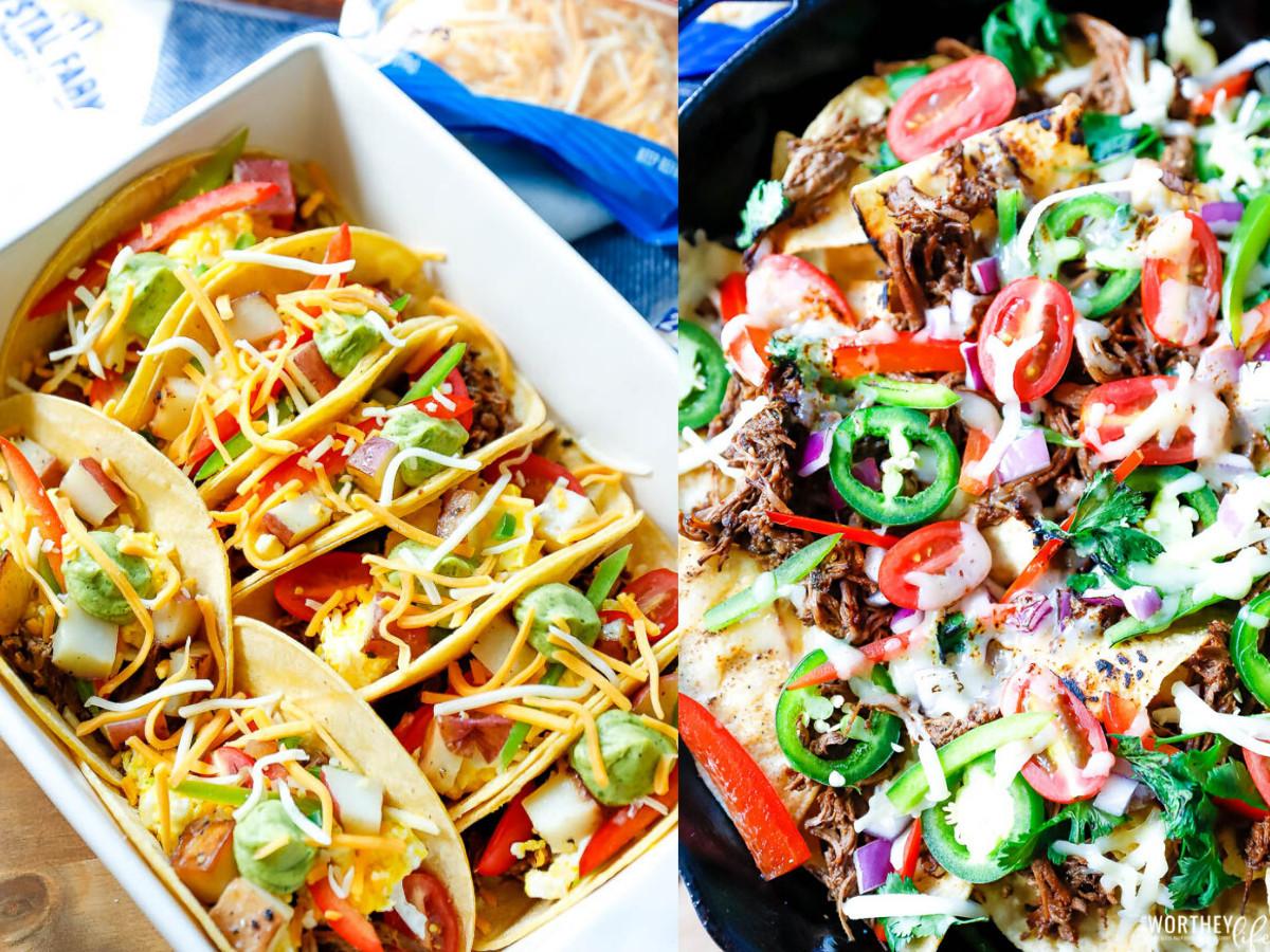 Breakfast Nachos + Breakfast Tacos using Beef Barbacoa
