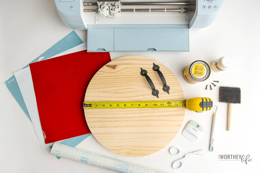 Supplies needed for a DIY Wooden Serving