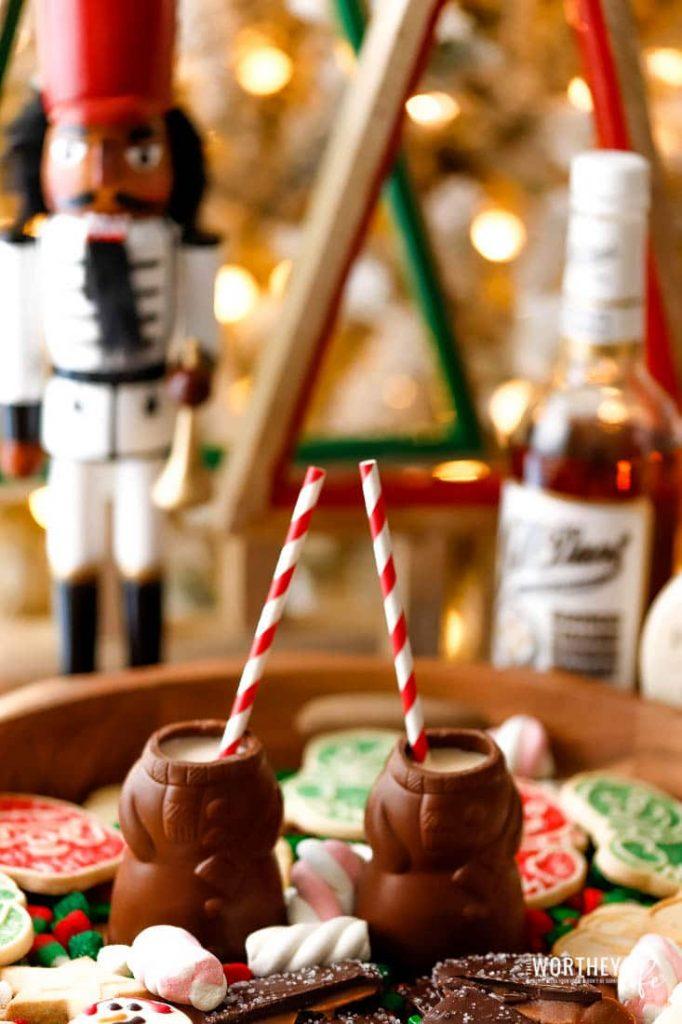 Snowman hot chocolate shots