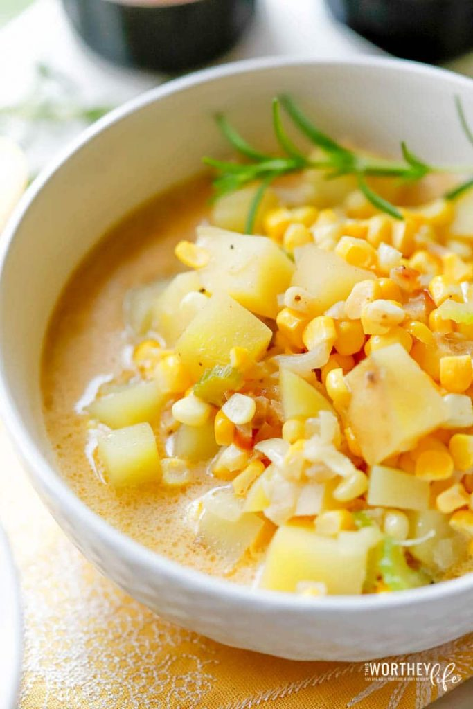 Vegan Corn Potato Chowder in a large white bowl