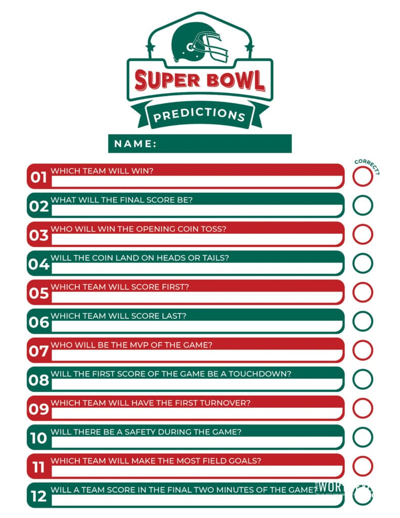Super Bowl free printables