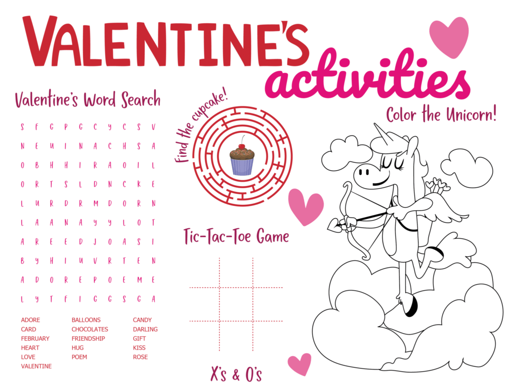 Valentine's Activity Sheet Printable